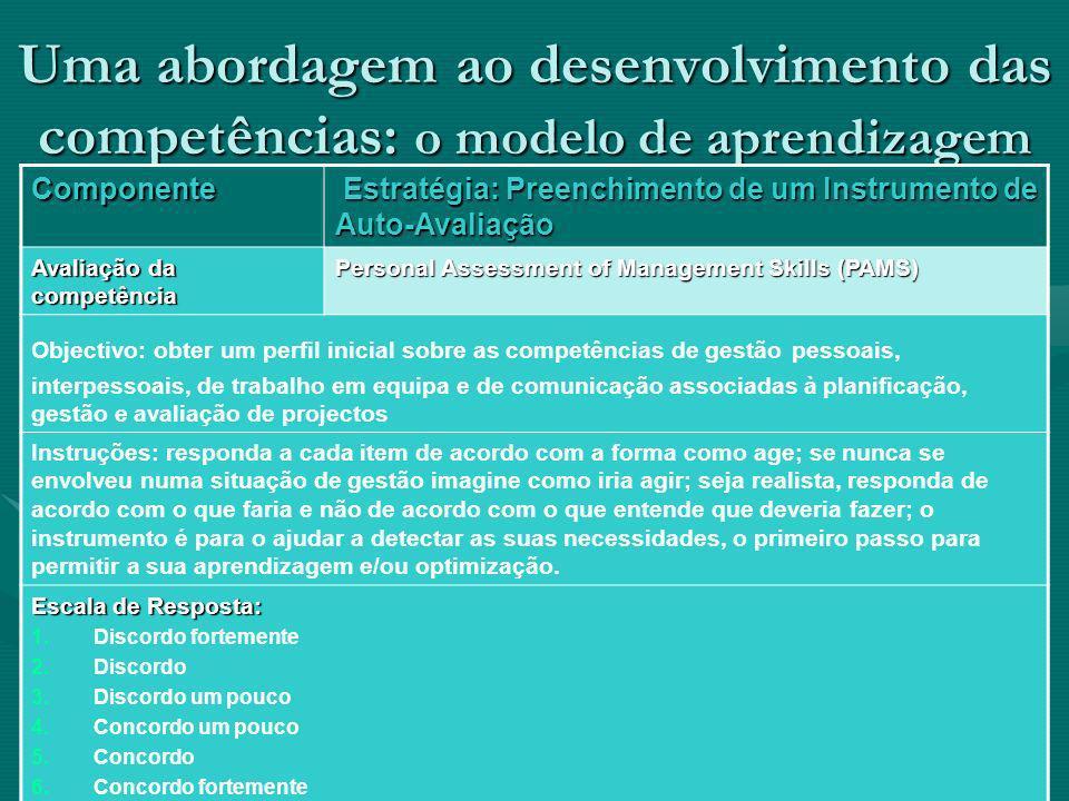 Uma abordagem ao desenvolvimento das competências: o modelo de aprendizagem Componente Estratégia: Preenchimento de um Instrumento de Auto-Avaliação E