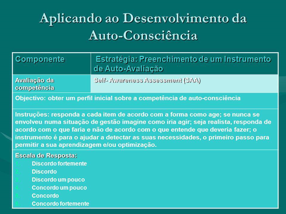 Aplicando ao Desenvolvimento da Auto-Consciência Componente Estratégia: Preenchimento de um Instrumento de Auto-Avaliação Estratégia: Preenchimento de