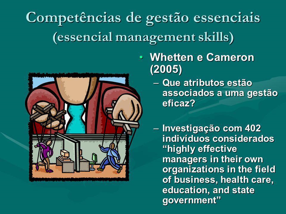 Competências de gestão essenciais (essencial management skills) Whetten e Cameron (2005) –Que atributos estão associados a uma gestão eficaz? –Investi