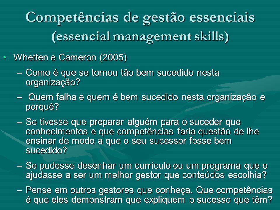 Competências de gestão essenciais (essencial management skills) Whetten e Cameron (2005)Whetten e Cameron (2005) –Como é que se tornou tão bem sucedid