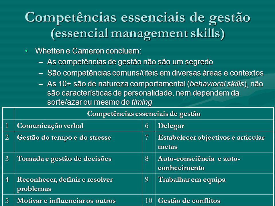 Competências essenciais de gestão (essencial management skills) Whetten e Cameron concluem:Whetten e Cameron concluem: –As competências de gestão não