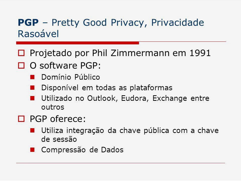 PGP – Pretty Good Privacy, Privacidade Rasoável Projetado por Phil Zimmermann em 1991 O software PGP: Domínio Público Disponível em todas as plataform