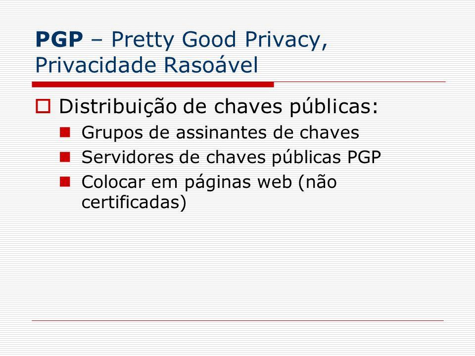 PGP – Pretty Good Privacy, Privacidade Rasoável Distribuição de chaves públicas: Grupos de assinantes de chaves Servidores de chaves públicas PGP Colo