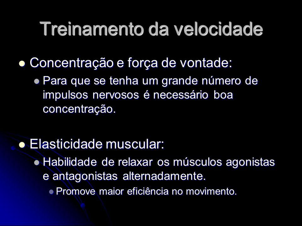 Treinamento da velocidade Concentração e força de vontade: Concentração e força de vontade: Para que se tenha um grande número de impulsos nervosos é