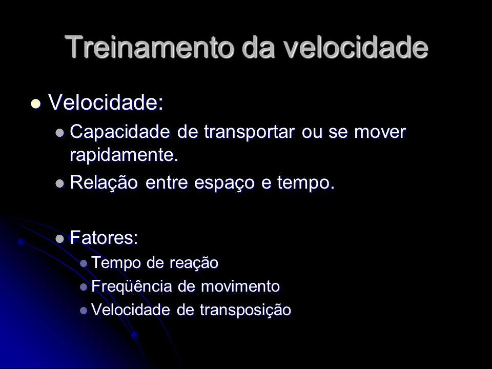 Treinamento da velocidade Velocidade: Velocidade: Capacidade de transportar ou se mover rapidamente. Capacidade de transportar ou se mover rapidamente