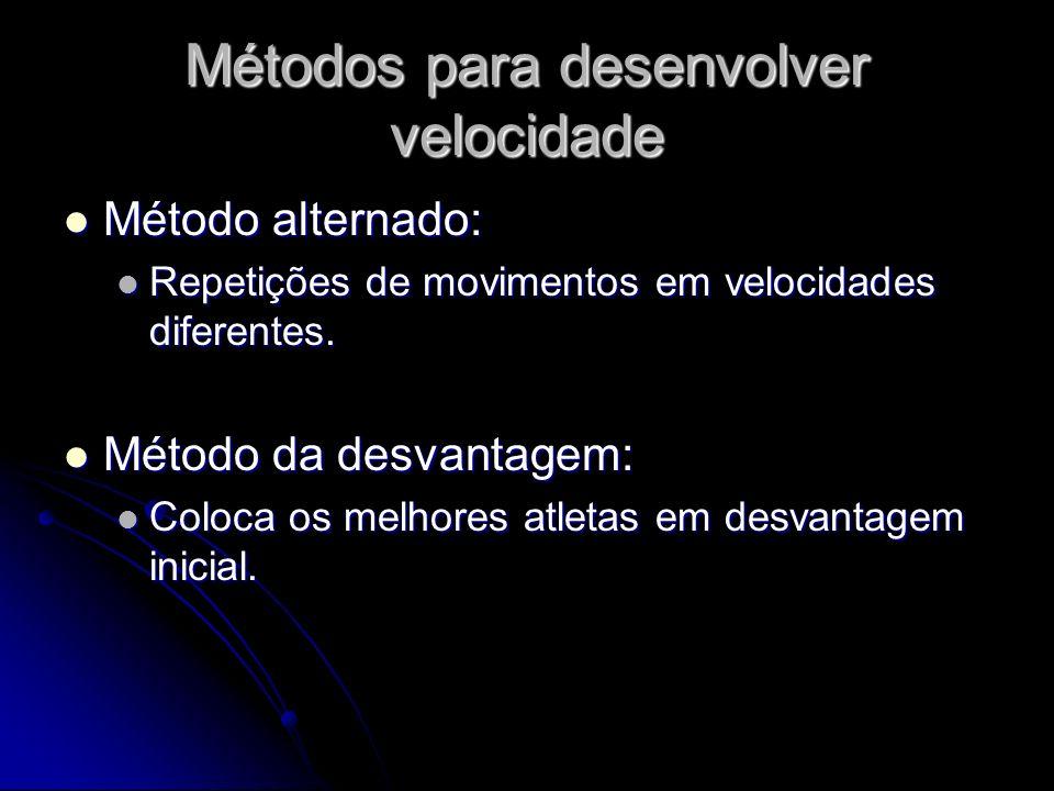 Métodos para desenvolver velocidade Método alternado: Método alternado: Repetições de movimentos em velocidades diferentes. Repetições de movimentos e