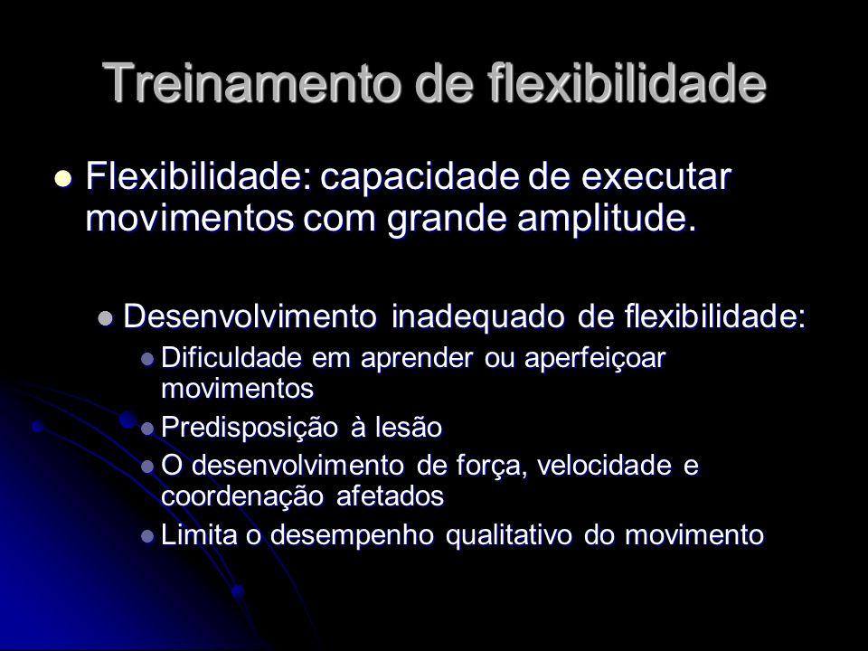 Treinamento de flexibilidade Flexibilidade: capacidade de executar movimentos com grande amplitude. Flexibilidade: capacidade de executar movimentos c