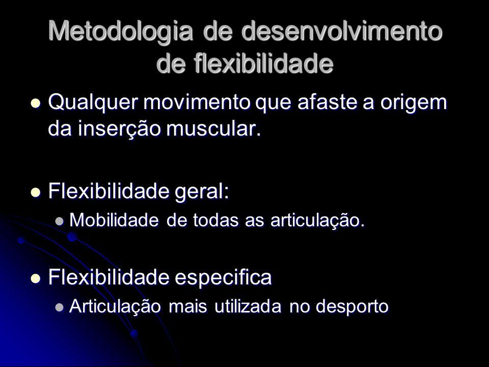 Metodologia de desenvolvimento de flexibilidade Qualquer movimento que afaste a origem da inserção muscular. Qualquer movimento que afaste a origem da