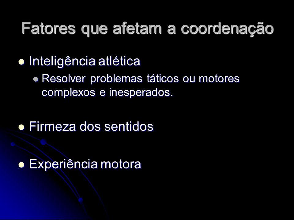 Fatores que afetam a coordenação Inteligência atlética Inteligência atlética Resolver problemas táticos ou motores complexos e inesperados. Resolver p