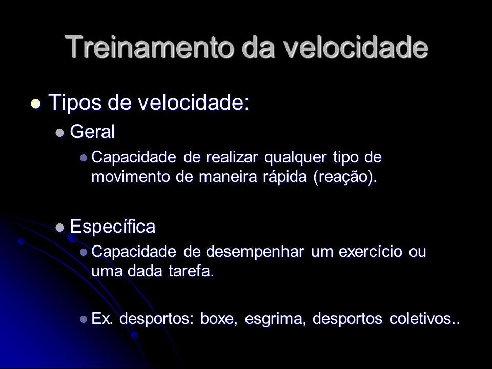 Treinamento da velocidade Tipos de velocidade: Tipos de velocidade: Geral Geral Capacidade de realizar qualquer tipo de movimento de maneira rápida (r