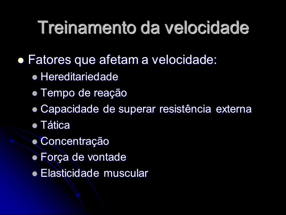 Treinamento da velocidade Hereditariedade Hereditariedade Mobilidade dos processos nervosos Mobilidade dos processos nervosos Alternância rápida entre inibição e excitação Alternância rápida entre inibição e excitação Capacidade de regular o padrão de coordenação neuromuscular Capacidade de regular o padrão de coordenação neuromuscular Tipo de fibra muscular Tipo de fibra muscular