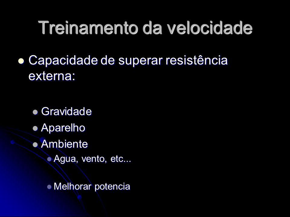 Treinamento da velocidade Capacidade de superar resistência externa: Capacidade de superar resistência externa: Gravidade Gravidade Aparelho Aparelho