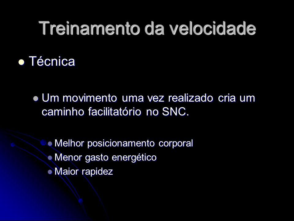 Treinamento da velocidade Técnica Técnica Um movimento uma vez realizado cria um caminho facilitatório no SNC. Um movimento uma vez realizado cria um