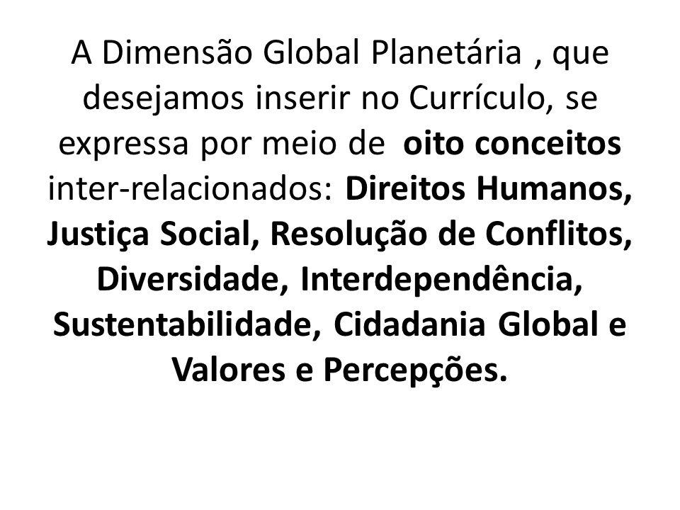 A Dimensão Global Planetária, que desejamos inserir no Currículo, se expressa por meio de oito conceitos inter-relacionados: Direitos Humanos, Justiça
