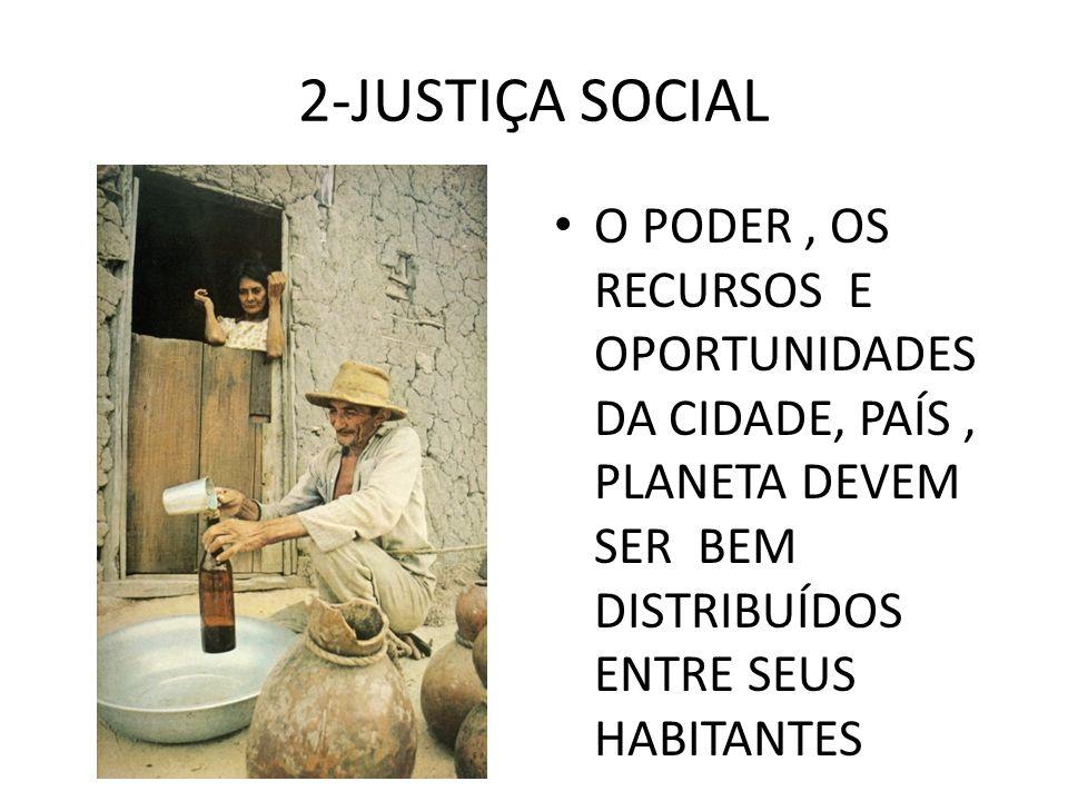 2-JUSTIÇA SOCIAL O PODER, OS RECURSOS E OPORTUNIDADES DA CIDADE, PAÍS, PLANETA DEVEM SER BEM DISTRIBUÍDOS ENTRE SEUS HABITANTES