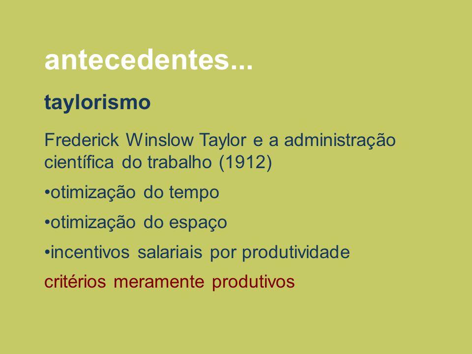 antecedentes... taylorismo Frederick Winslow Taylor e a administração científica do trabalho (1912) otimização do tempo otimização do espaço incentivo
