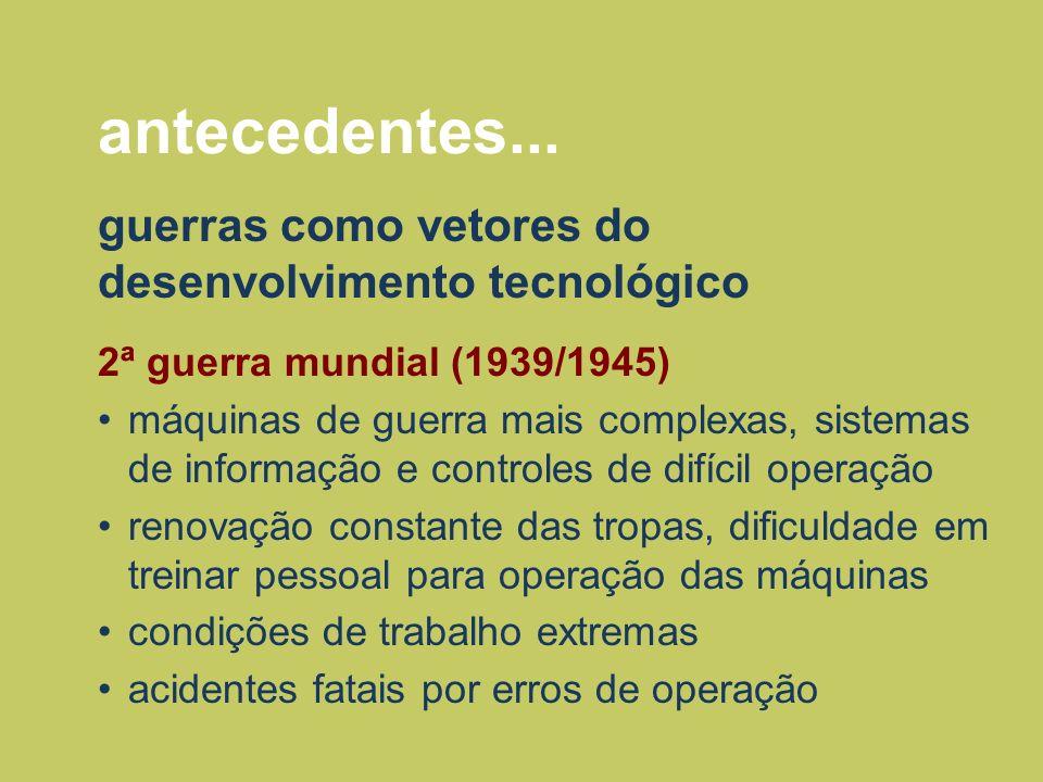 antecedentes... guerras como vetores do desenvolvimento tecnológico 2ª guerra mundial (1939/1945) máquinas de guerra mais complexas, sistemas de infor