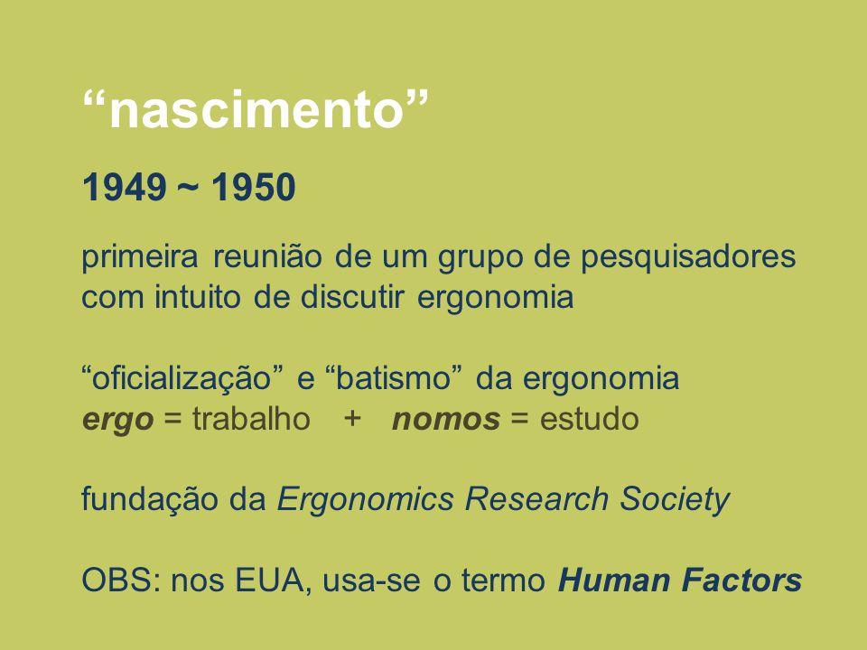nascimento 1949 ~ 1950 primeira reunião de um grupo de pesquisadores com intuito de discutir ergonomia oficialização e batismo da ergonomia ergo = tra