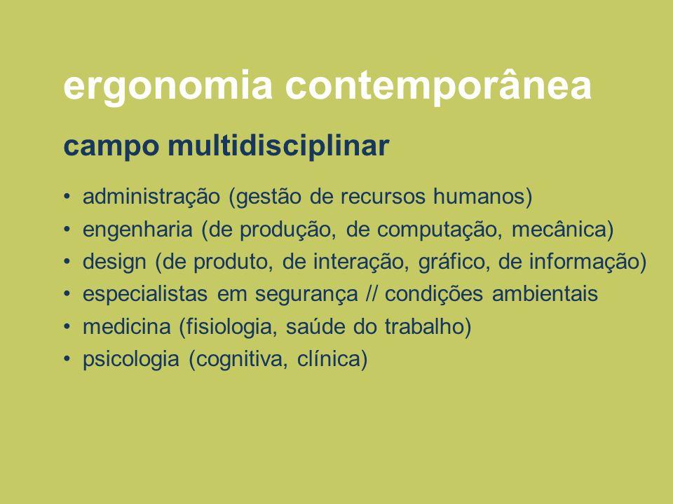 ergonomia contemporânea campo multidisciplinar administração (gestão de recursos humanos) engenharia (de produção, de computação, mecânica) design (de