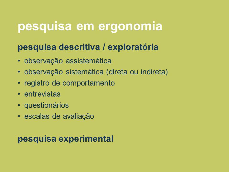 pesquisa em ergonomia pesquisa descritiva / exploratória observação assistemática observação sistemática (direta ou indireta) registro de comportament