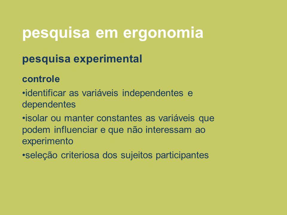 pesquisa em ergonomia pesquisa experimental controle identificar as variáveis independentes e dependentes isolar ou manter constantes as variáveis que