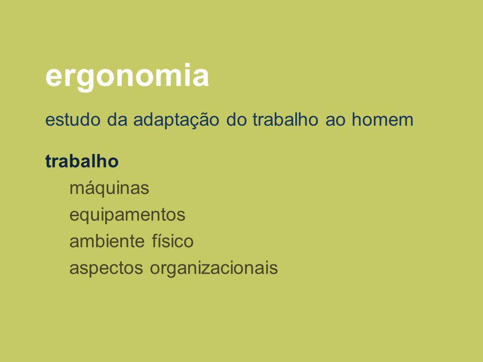 ergonomia trabalho máquinas equipamentos ambiente físico aspectos organizacionais estudo da adaptação do trabalho ao homem