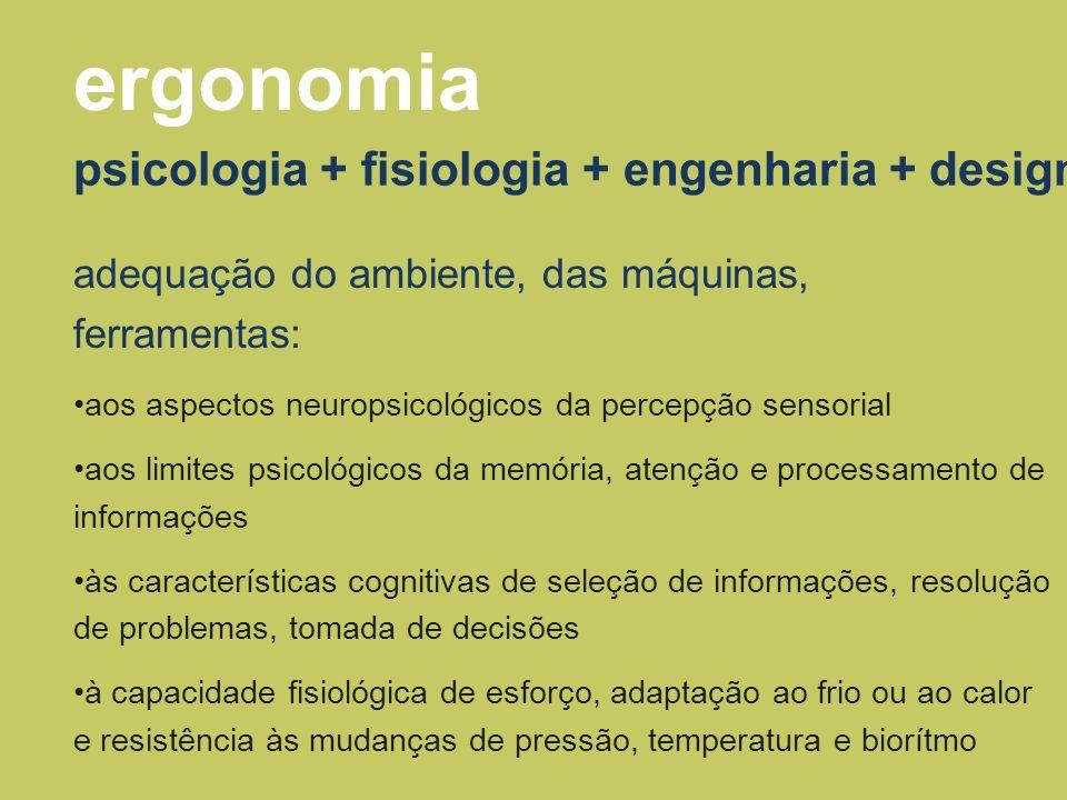 psicologia + fisiologia + engenharia + design ergonomia adequação do ambiente, das máquinas, ferramentas: aos aspectos neuropsicológicos da percepção