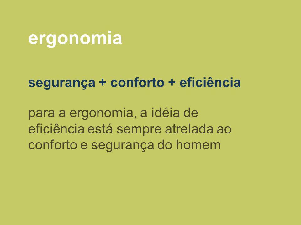 ergonomia segurança + conforto + eficiência para a ergonomia, a idéia de eficiência está sempre atrelada ao conforto e segurança do homem