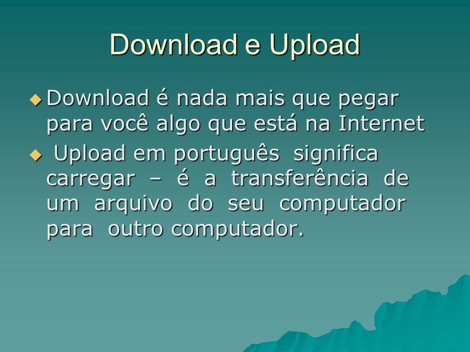 Download e Upload Download é nada mais que pegar para você algo que está na Internet Download é nada mais que pegar para você algo que está na Interne