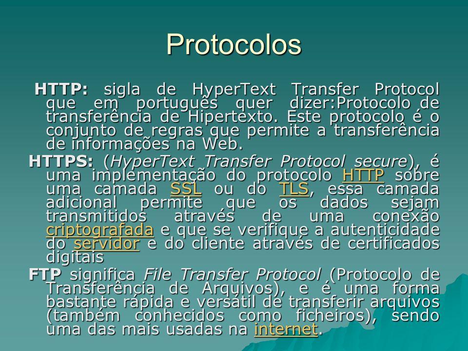 Protocolos HTTP: sigla de HyperText Transfer Protocol que em português quer dizer:Protocolo de transferência de Hipertexto. Este protocolo é o conjunt