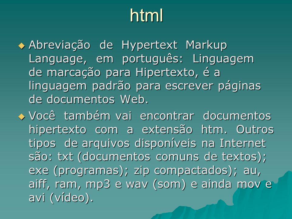 html Abreviação de Hypertext Markup Language, em português: Linguagem de marcação para Hipertexto, é a linguagem padrão para escrever páginas de docum