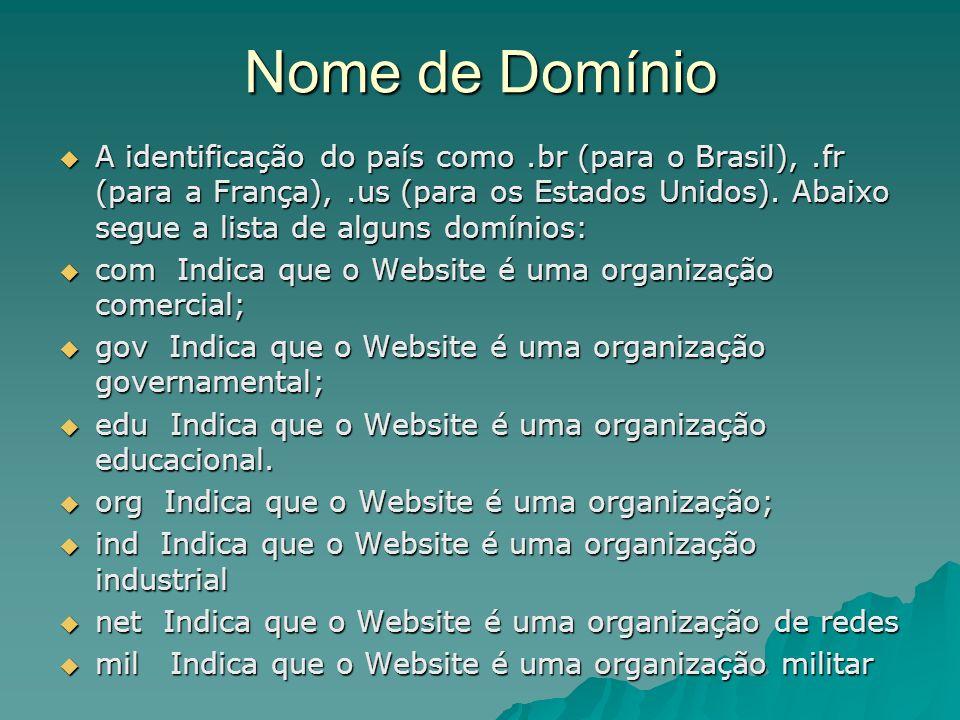 Nome de Domínio A identificação do país como.br (para o Brasil),.fr (para a França),.us (para os Estados Unidos). Abaixo segue a lista de alguns domín