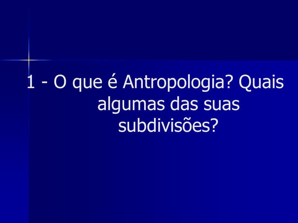 1 - O que é Antropologia? Quais algumas das suas subdivisões?