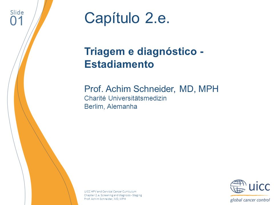 UICC HPV and Cervical Cancer Curriculum Chapter 2.e. Screening and diagnosis - Staging Prof. Achim Schneider, MD, MPH Slide 01 Capítulo 2.e. Triagem e