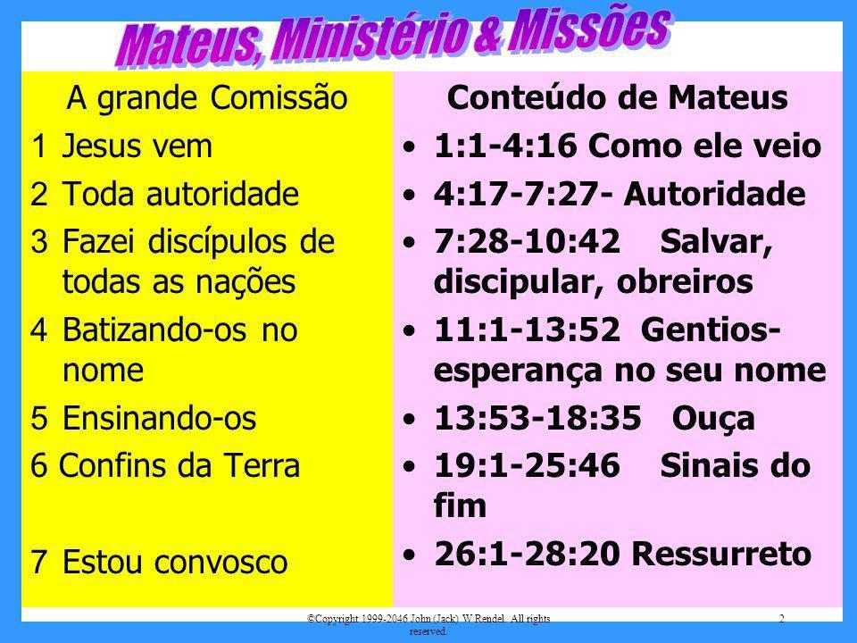 ©Copyright 1999-2046 John (Jack) W Rendel. All rights reserved. 2 Conteúdo de Mateus 1:1-4:16 Como ele veio 4:17-7:27- Autoridade 7:28-10:42 Salvar, d