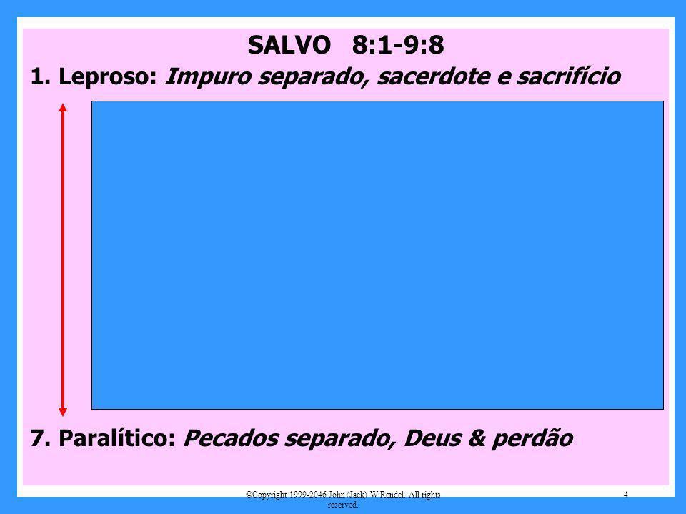 SALVO 8:1-9:8 1. Leproso: Impuro separado, sacerdote e sacrifício 2. Servo atormentado: Filhos expulsos 3. A cura da sogra: Estava doente na cama. 4.