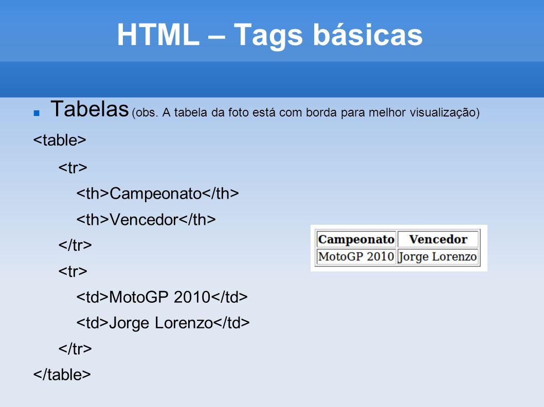 HTML – Tags básicas Tabelas (obs. A tabela da foto está com borda para melhor visualização) Campeonato Vencedor MotoGP 2010 Jorge Lorenzo