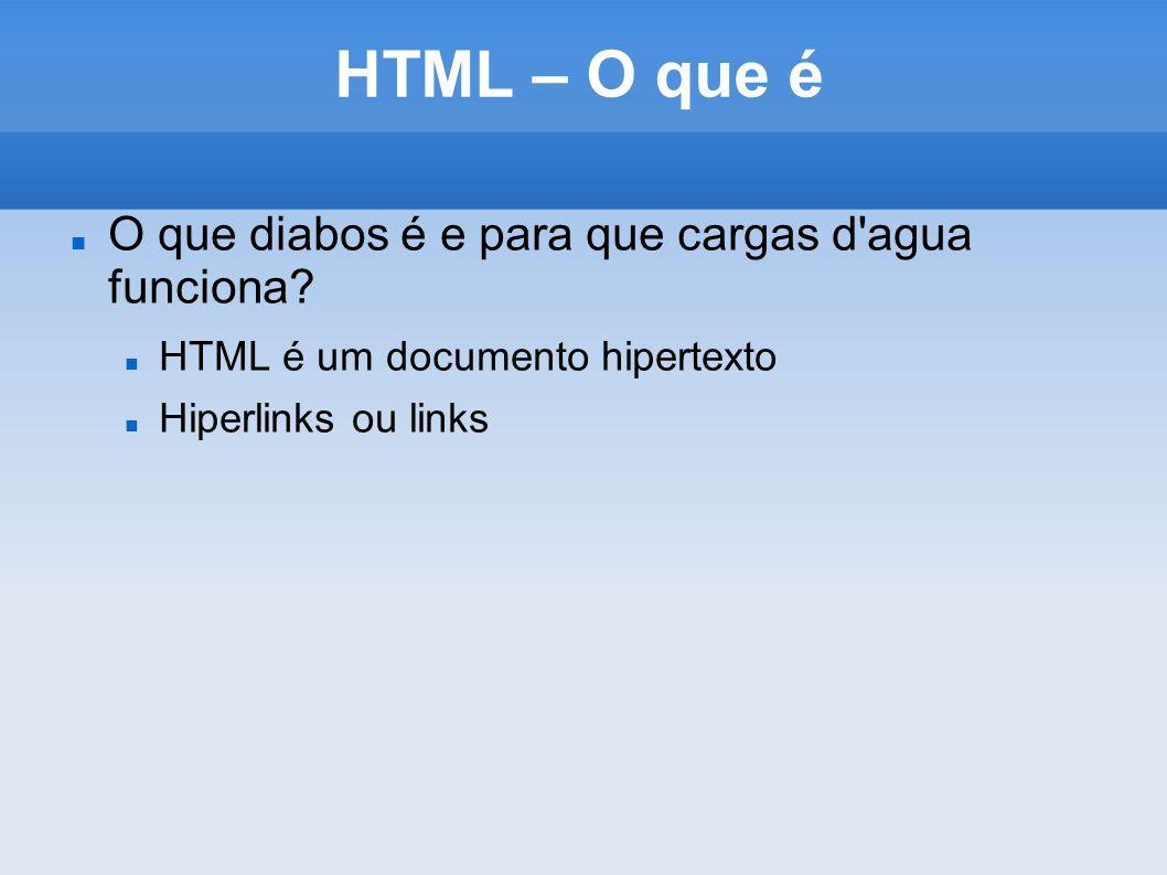HTML – O que é O que diabos é e para que cargas d'agua funciona? HTML é um documento hipertexto Hiperlinks ou links