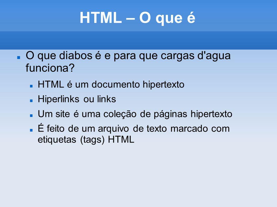 HTML – O que é O que diabos é e para que cargas d'agua funciona? HTML é um documento hipertexto Hiperlinks ou links Um site é uma coleção de páginas h