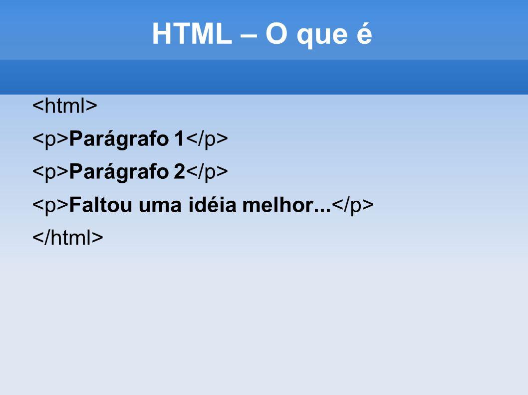 HTML – O que é Parágrafo 1 Parágrafo 2 Faltou uma idéia melhor...