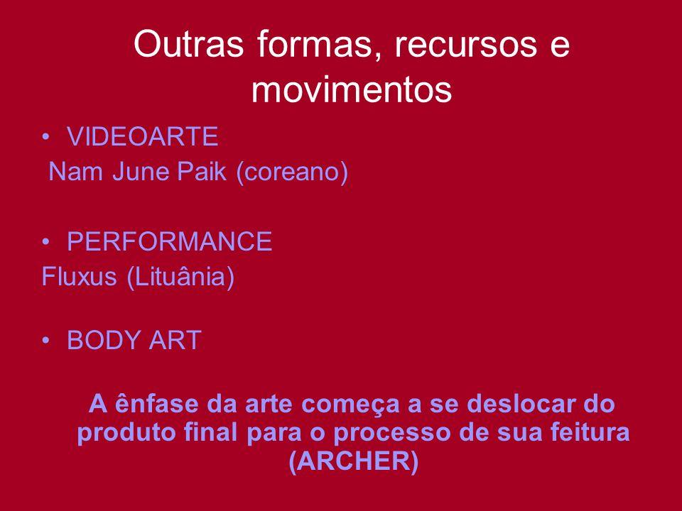 Outras formas, recursos e movimentos VIDEOARTE Nam June Paik (coreano) PERFORMANCE Fluxus (Lituânia) BODY ART A ênfase da arte começa a se deslocar do