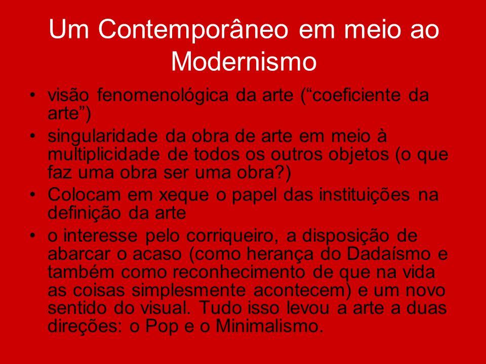 Um Contemporâneo em meio ao Modernismo visão fenomenológica da arte (coeficiente da arte) singularidade da obra de arte em meio à multiplicidade de to