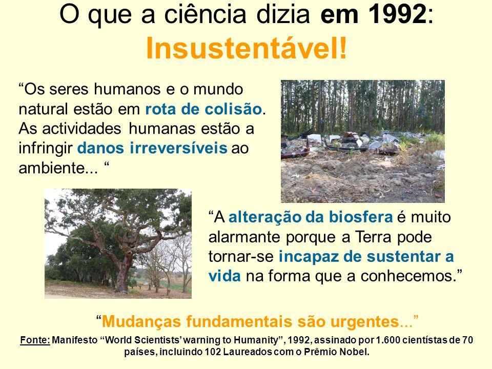 O que a ciência dizia em 1992: Insustentável! Mudanças fundamentais são urgentes... Fonte: Manifesto World Scientists warning to Humanity, 1992, assin