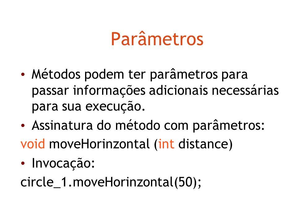 Chamando métodos circle_1.makeVisible; circle_1.moveRight; circle_1.moveDown; O cabeçalho de um método é chamado de assinatura – informações necessári