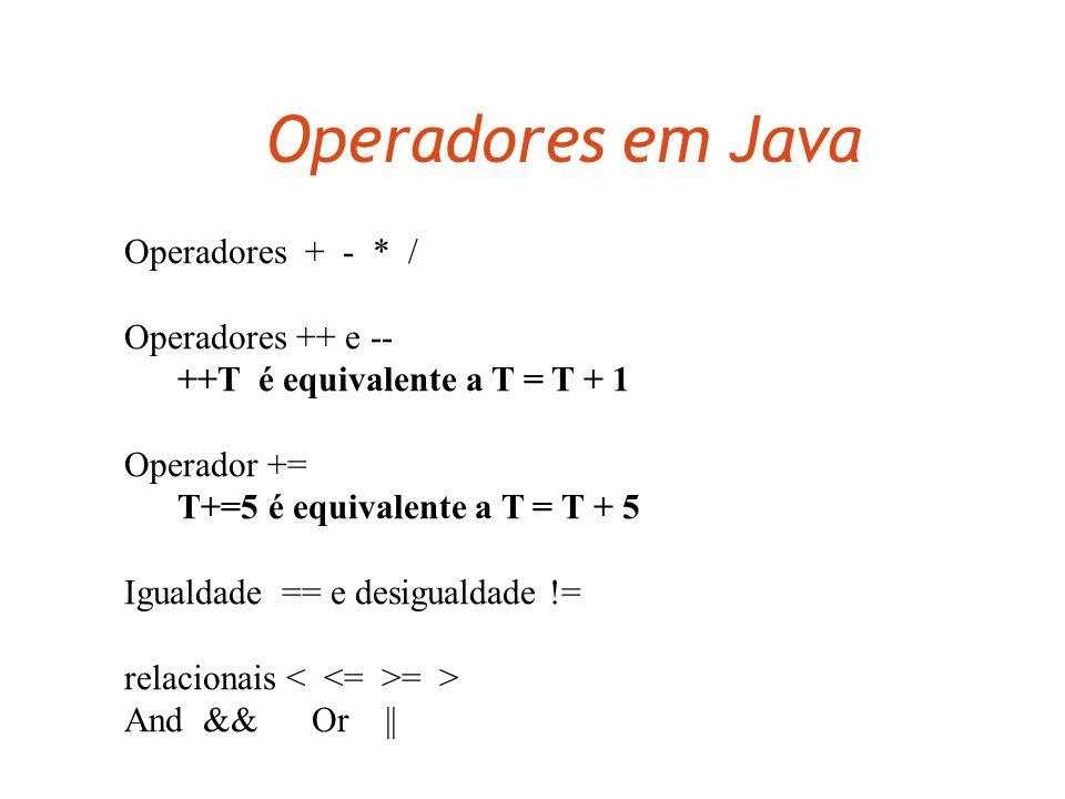 Classe de Estudantes em Java class Estudante { String nome; int creditos; void addCred(int pontosAdicionais) { creditos += pontosAdicionais; }