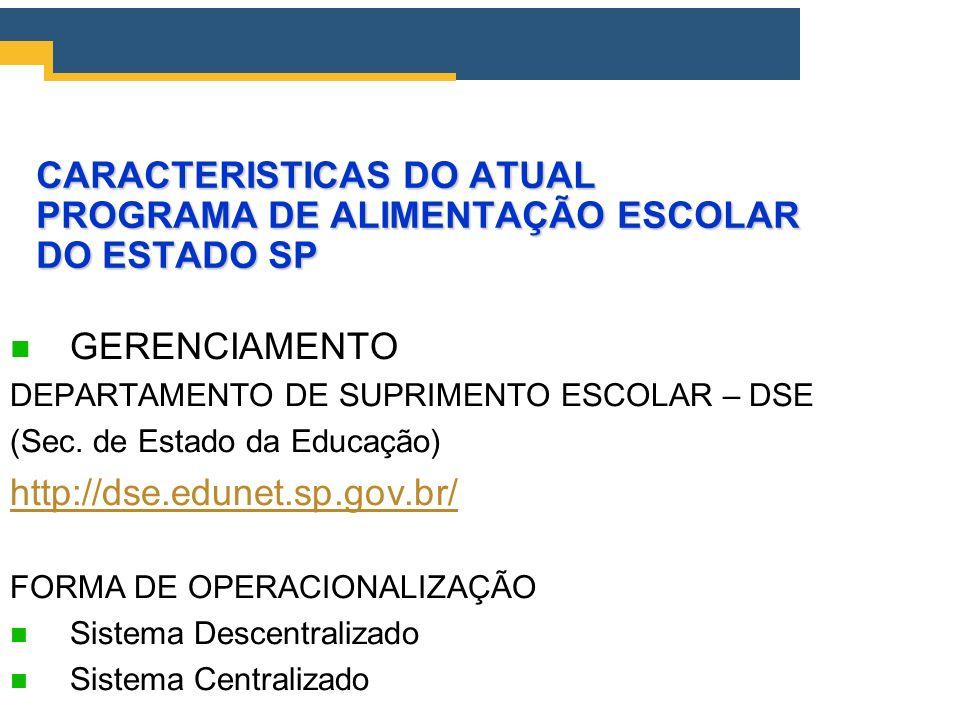 CARACTERISTICAS DO ATUAL PROGRAMA DE ALIMENTAÇÃO ESCOLAR DO ESTADO SP GERENCIAMENTO DEPARTAMENTO DE SUPRIMENTO ESCOLAR – DSE (Sec. de Estado da Educaç