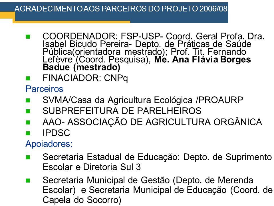 COORDENADOR: FSP-USP- Coord. Geral Profa. Dra. Isabel Bicudo Pereira- Depto. de Práticas de Saúde Pública(orientadora mestrado); Prof. Tit. Fernando L
