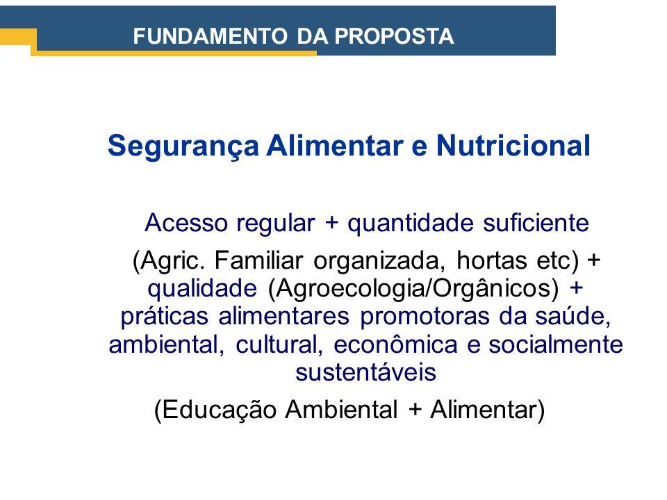 Segurança Alimentar e Nutricional Acesso regular + quantidade suficiente (Agric. Familiar organizada, hortas etc) + qualidade (Agroecologia/Orgânicos)