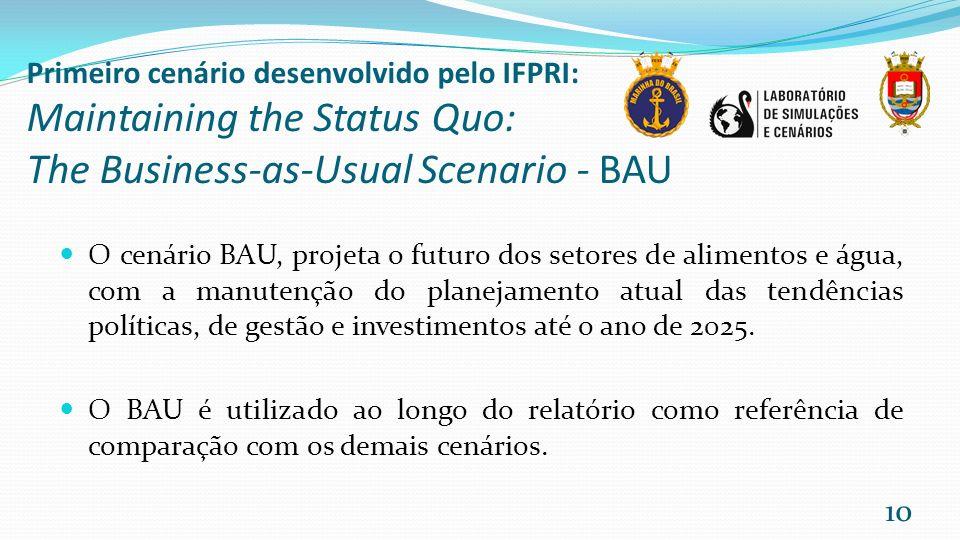 Primeiro cenário desenvolvido pelo IFPRI: Maintaining the Status Quo: The Business-as-Usual Scenario - BAU O cenário BAU, projeta o futuro dos setores