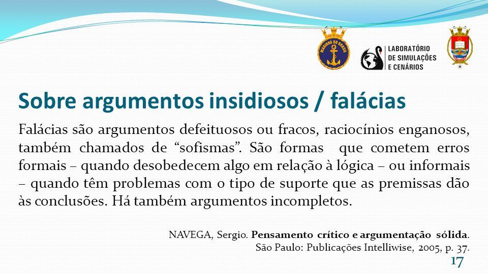Sobre argumentos insidiosos / falácias Falácias são argumentos defeituosos ou fracos, raciocínios enganosos, também chamados de sofismas. São formas q